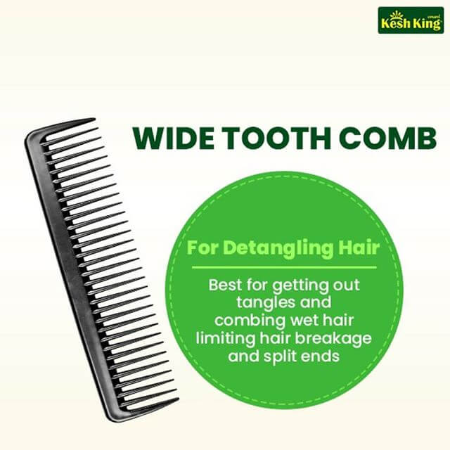 Wide tooth comb to limit hair breakage